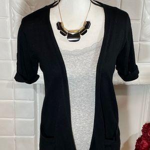 LOFT Black Short Sleeve Open Cardigan
